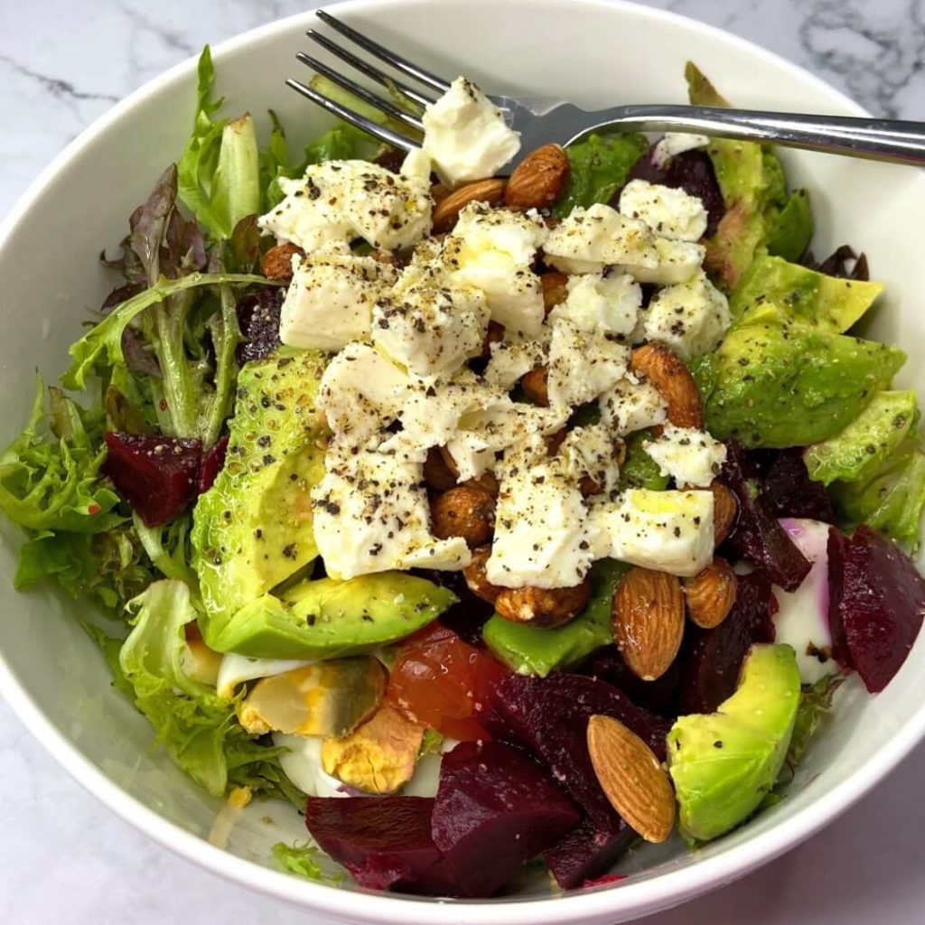 You can never get tired of this healthy salad, made of avocado, beetroot, feta cheese, fresh arugula & tomatos, hard boiled egg, almond nuts. Dressed with extra virgin olive oil, salt, pepper and bit of fresh lemon juice. ??? ??